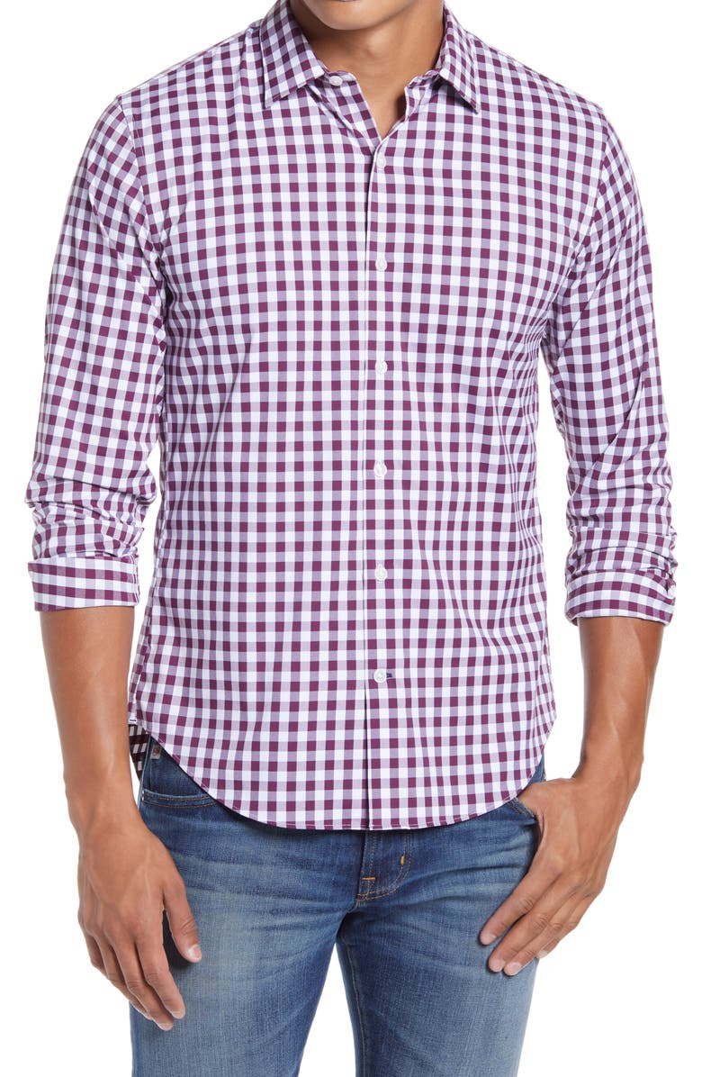 BONOBOS Slim Fit Check Button-Up Performance Shirt, Main, color, 400
