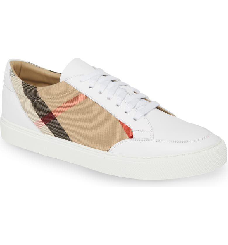 BURBERRY Salmond Check Low Top Sneaker, Main, color, OPTIC WHITE