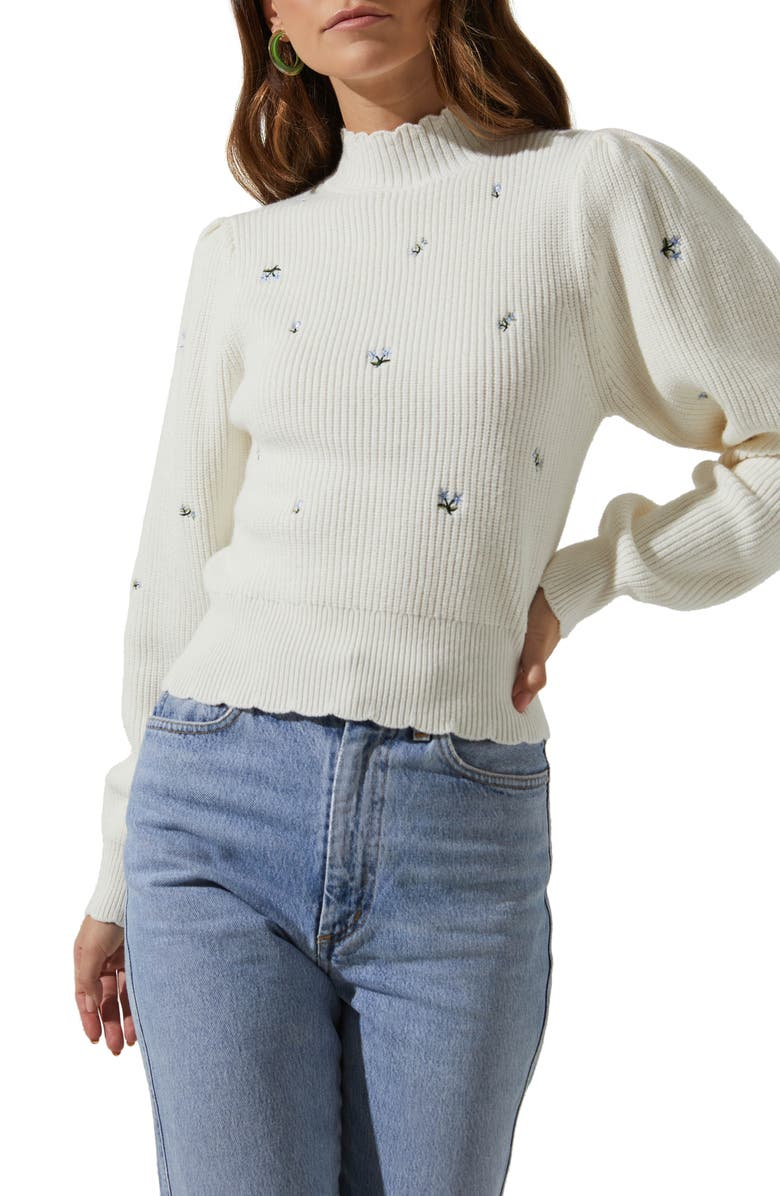 ASTR THE LABEL Embroidered Puff Sleeve Sweater, Main, color, OFF WHITE