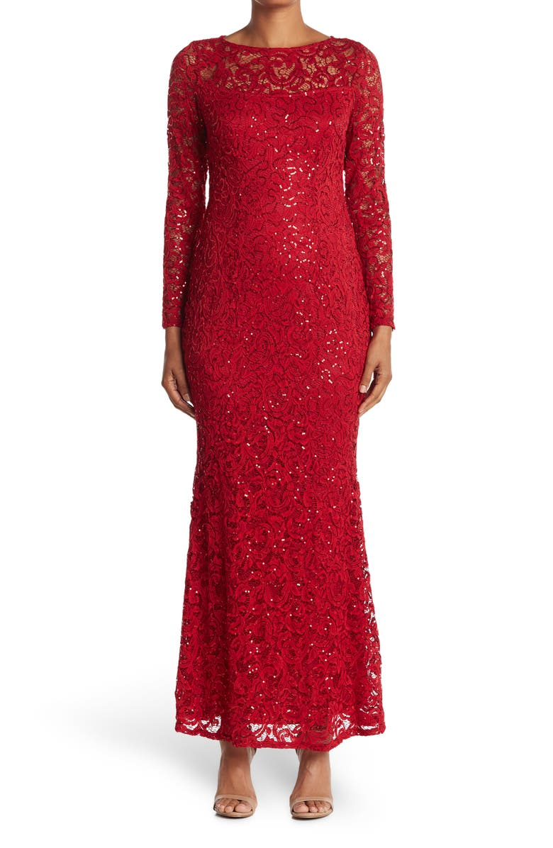 MARINA Sequin Lace Long Sleeve Gown, Main, color, RED