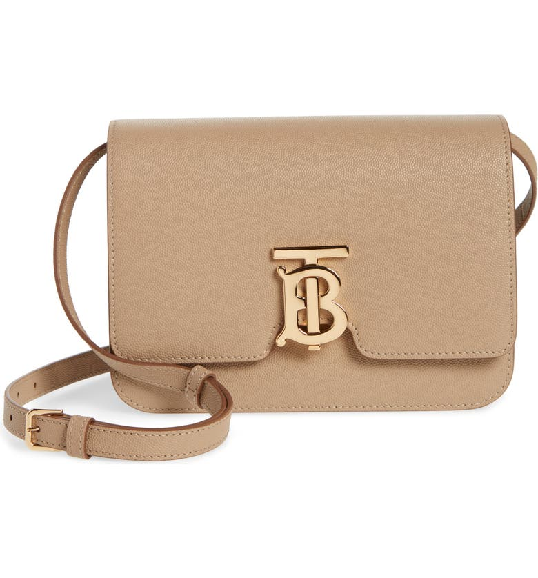 BURBERRY Small TB Grainy Leather Bag, Main, color, ARCHIVE BEIGE