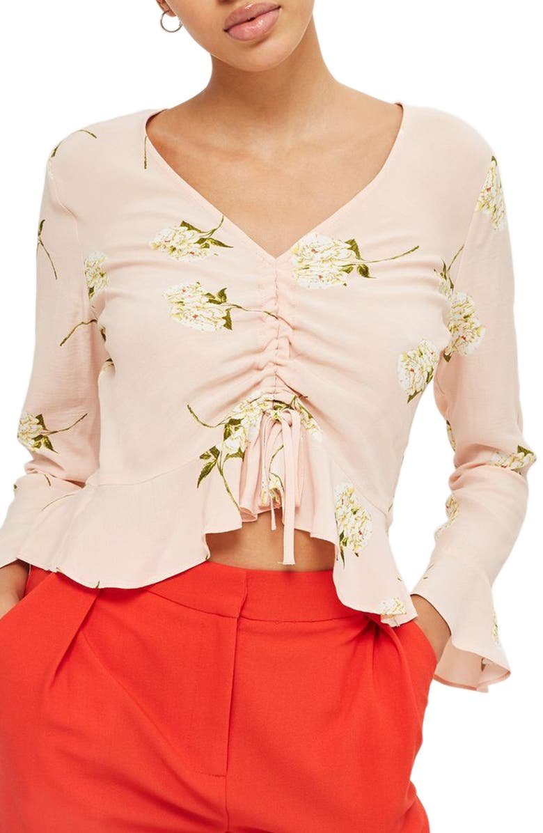 TOPSHOP Ruby Carnation Ruched Blouse, Main, color, 680