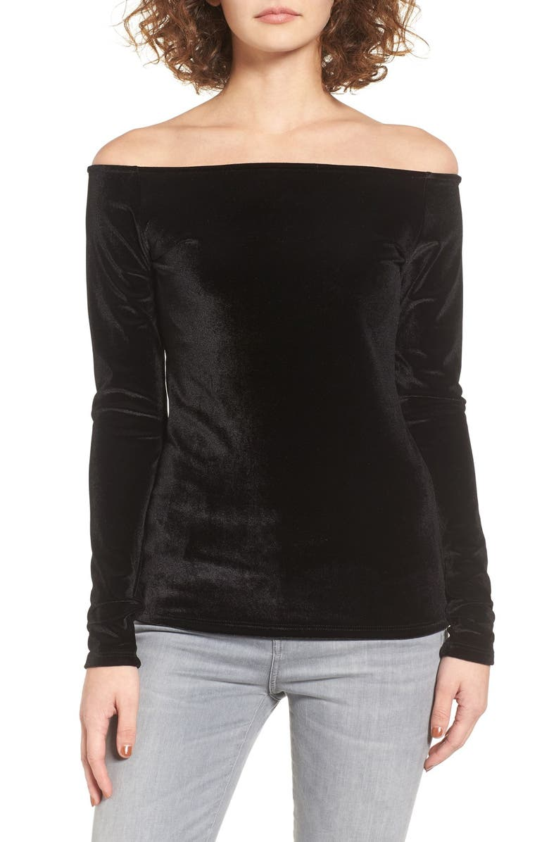 PST BY PROJECT SOCIAL T Project Social T Velvet Boat Neck Tee, Main, color, BLACK