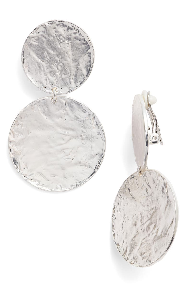 KARINE SULTAN Aimee Large Disc Clip Earrings, Main, color, SILVER