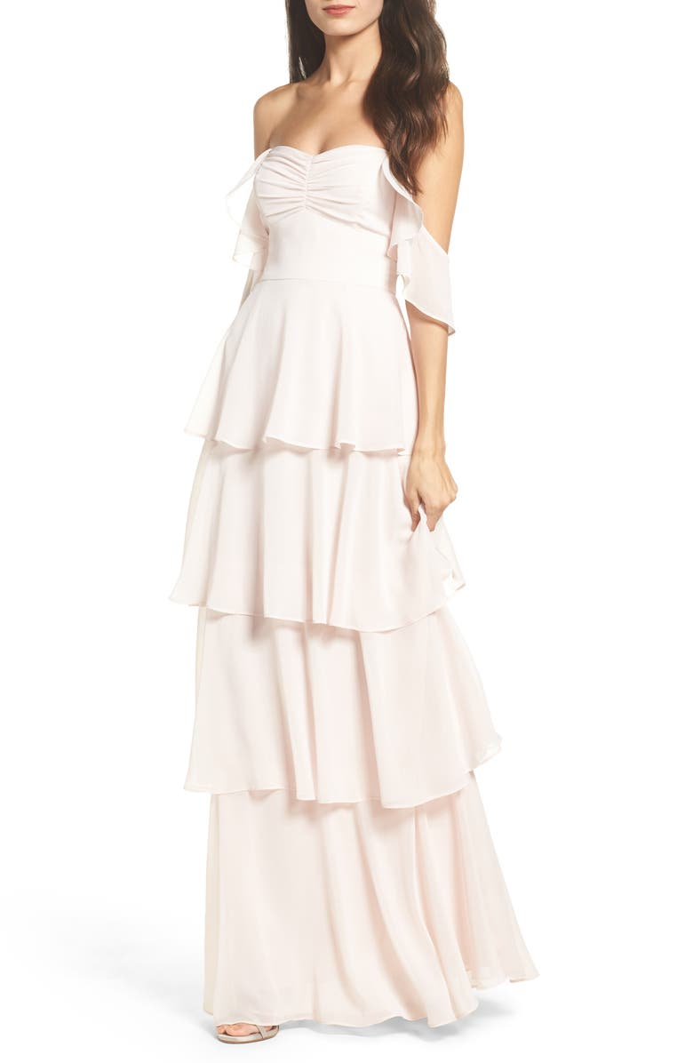 WAYF Abby Off the Shoulder Tiered Dress, Main, color, 052