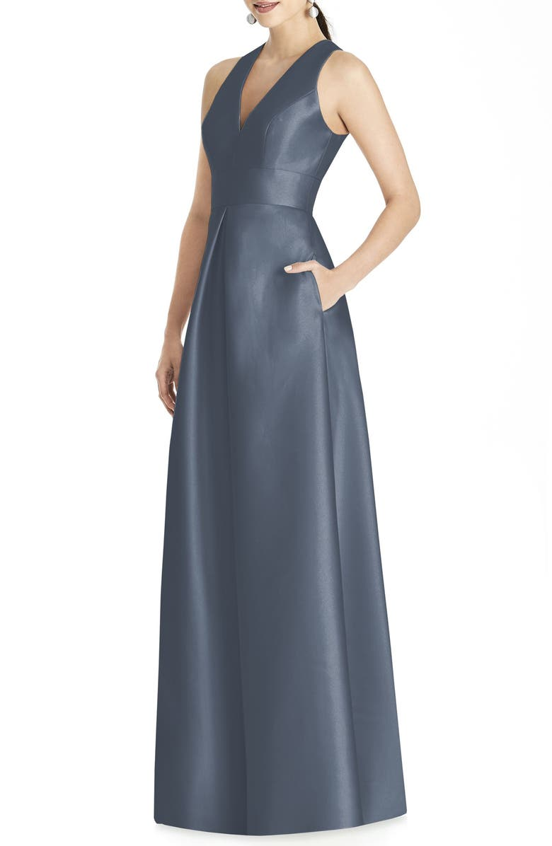 ALFRED SUNG Cutout Back Satin A-Line Gown, Main, color, SILVERSTONE