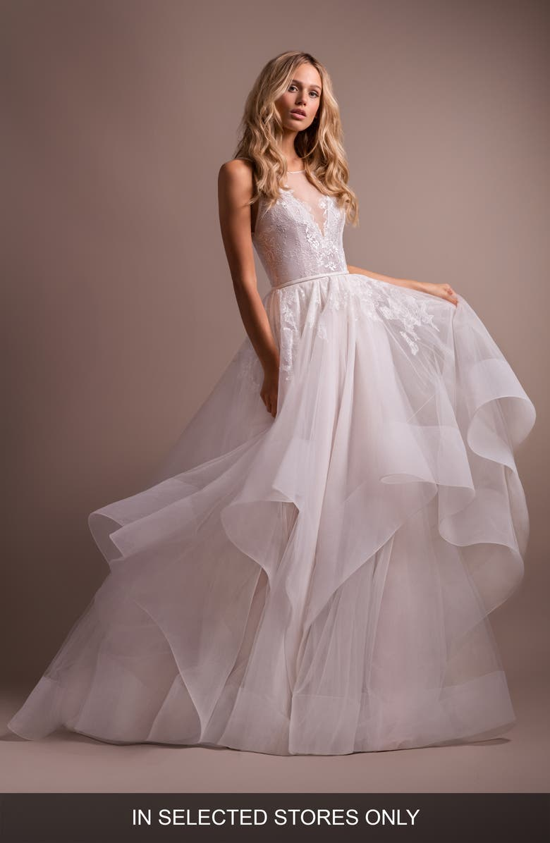 HAYLEY PAIGE Lilith Halter Open Back Wedding Dress, Main, color, 900