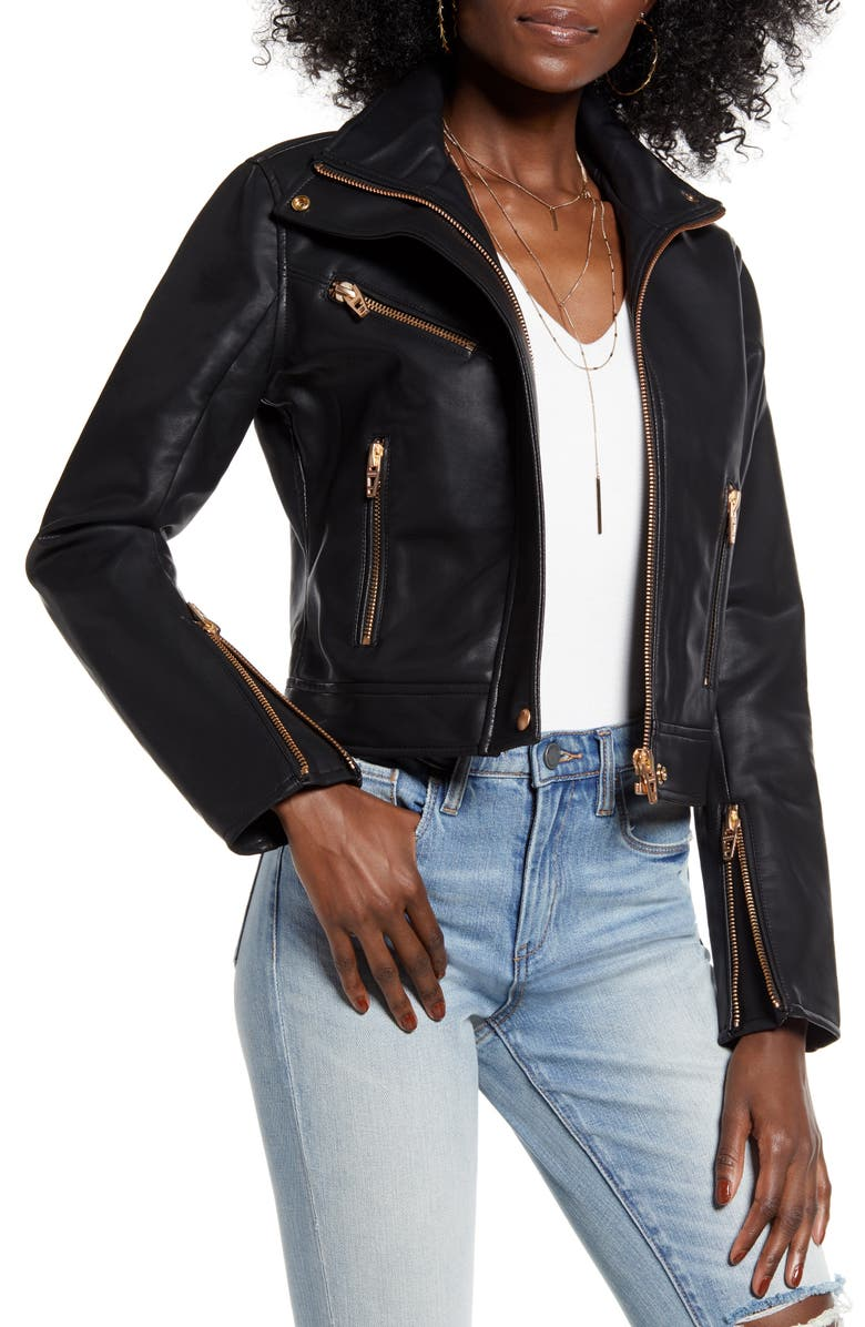 BLANKNYC The Essentials Faux Leather Moto Jacket, Main, color, 001