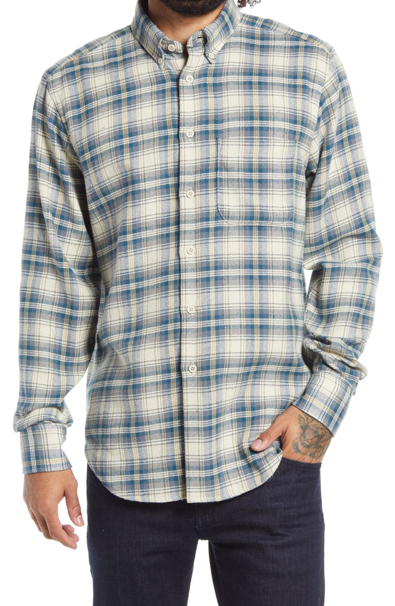 NAKED & FAMOUS DENIM Easy Cotton & Silk Flannel Button-Down Shirt, Main, color, CREAM