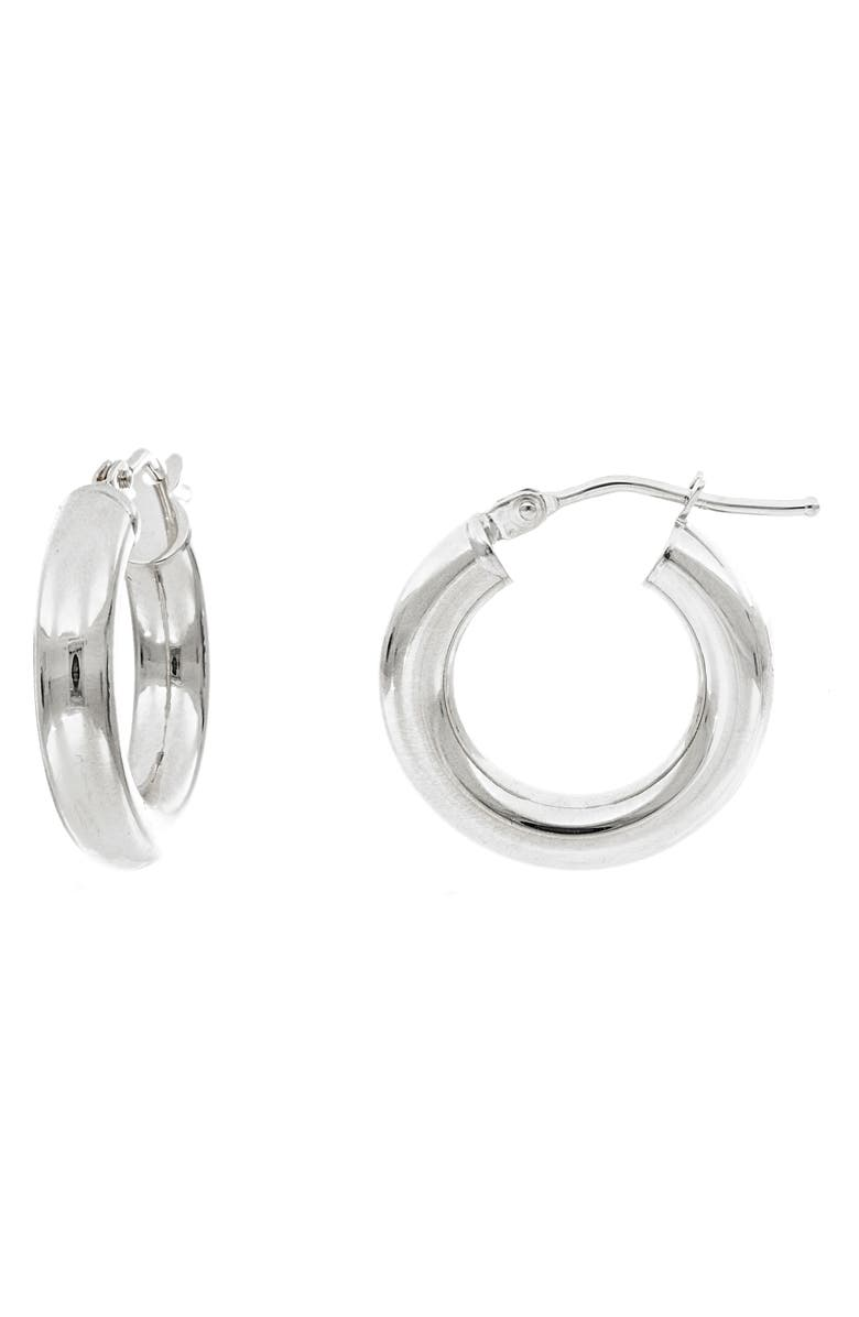 BONY LEVY Essentials 14K Gold Smooth Hoop Earrings, Main, color, WHITE GOLD