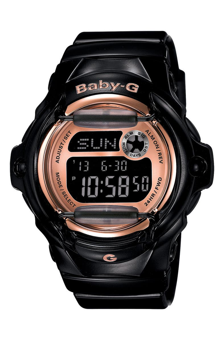 G-SHOCK BABY-G Baby-G Pink Dial Digital Watch, 46mm x 42mm, Main, color, 001