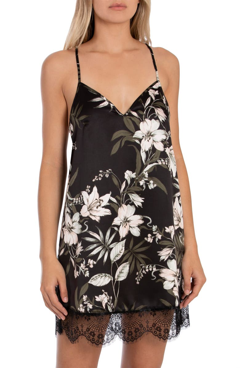 MIDNIGHT BAKERY Astrid Tropical Lace Trim Chemise, Main, color, BLACK