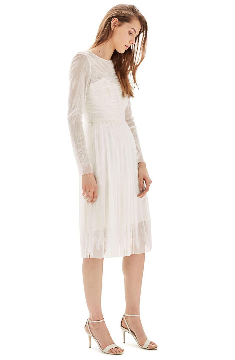 TOPSHOP Bride Tulle & Chantilly Lace Midi Dress, Main, color, IVORY