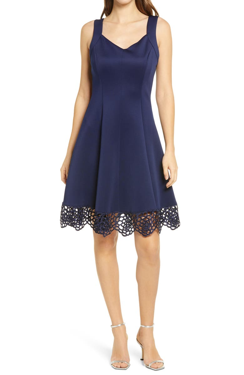 DONNA RICCO Lace Trim Sweetheart Neck Fit & Flare Dress, Main, color, SPRING NAVY