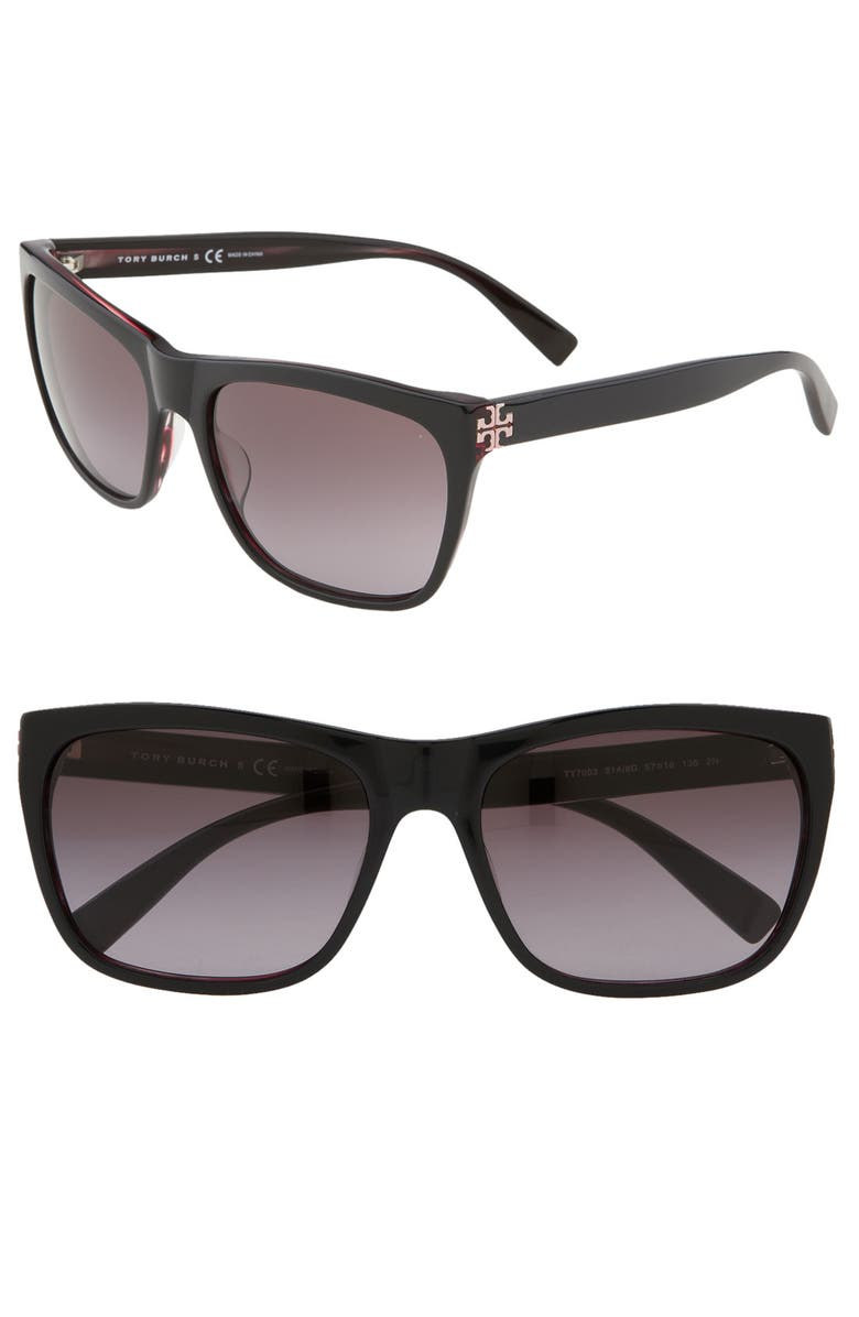 TORY BURCH Retro Inspired 57mm Square Sunglasses, Main, color, 020