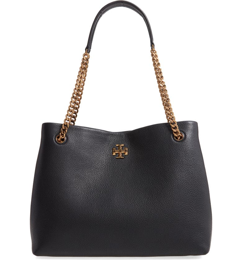TORY BURCH Kira Leather Tote, Main, color, 001