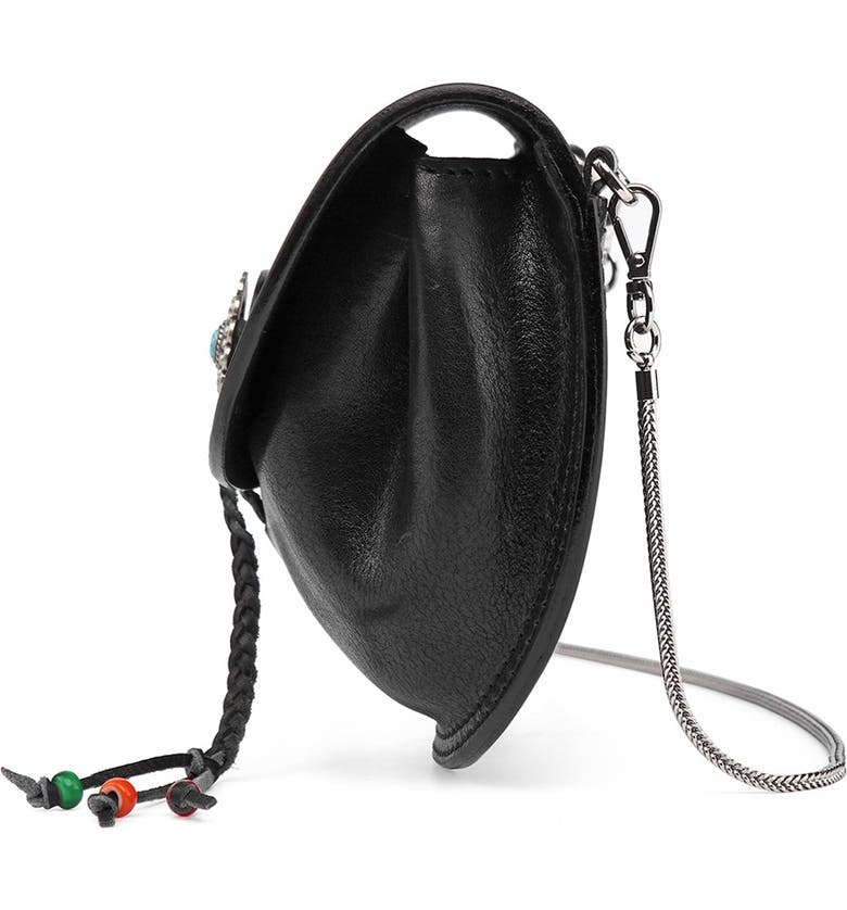 OLD TREND Leather Chain Crossbody Bag, Main, color, BLACK