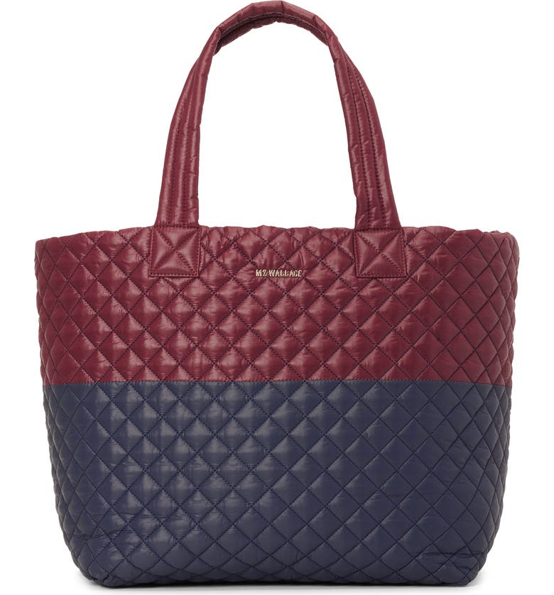 MZ WALLACE Deluxe Large Metro Tote, Main, color, MAROON/NAVY COLORBLOCK