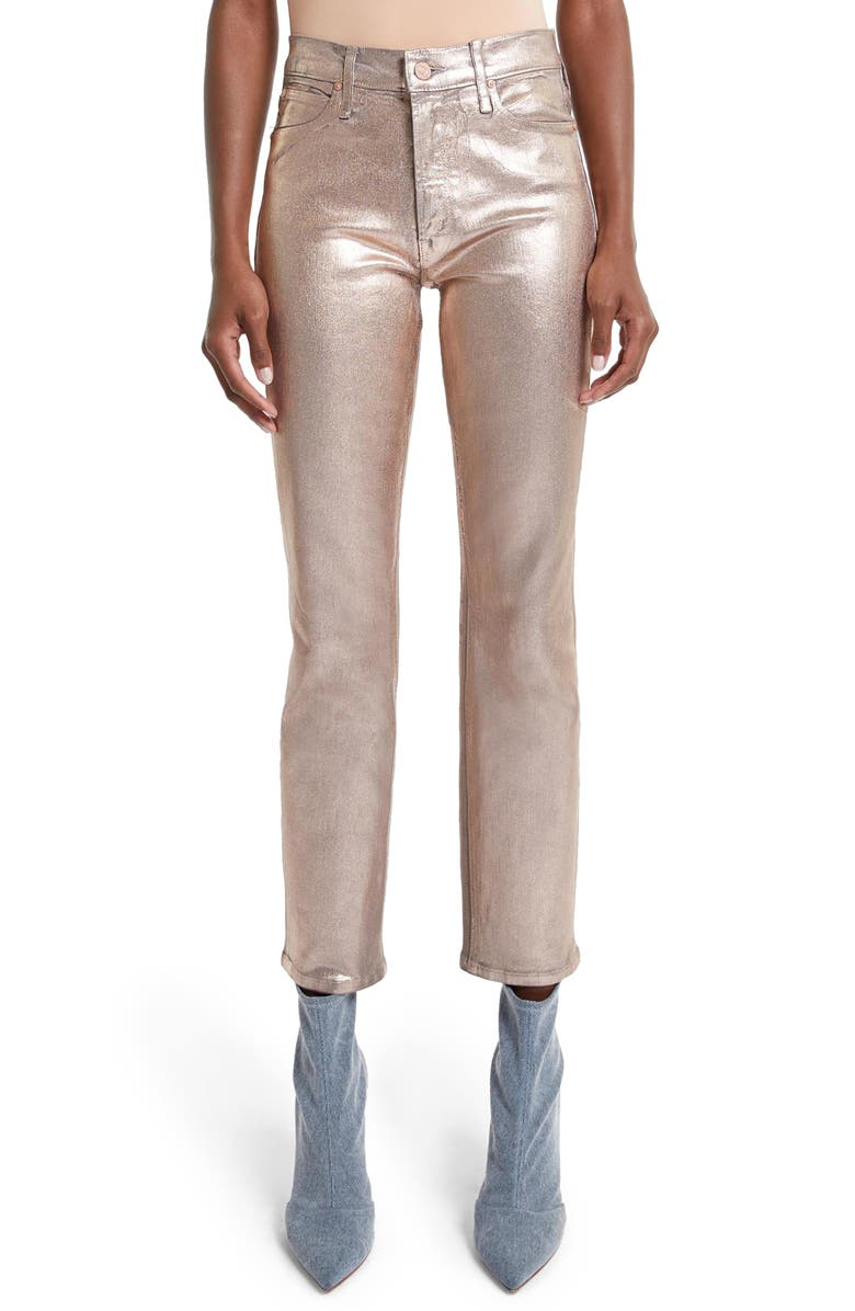 MOTHER The Dazzler High Waist Ankle Slim Straight Leg Jeans, Main, color, DWG DRIFTWOOD/ GOLD