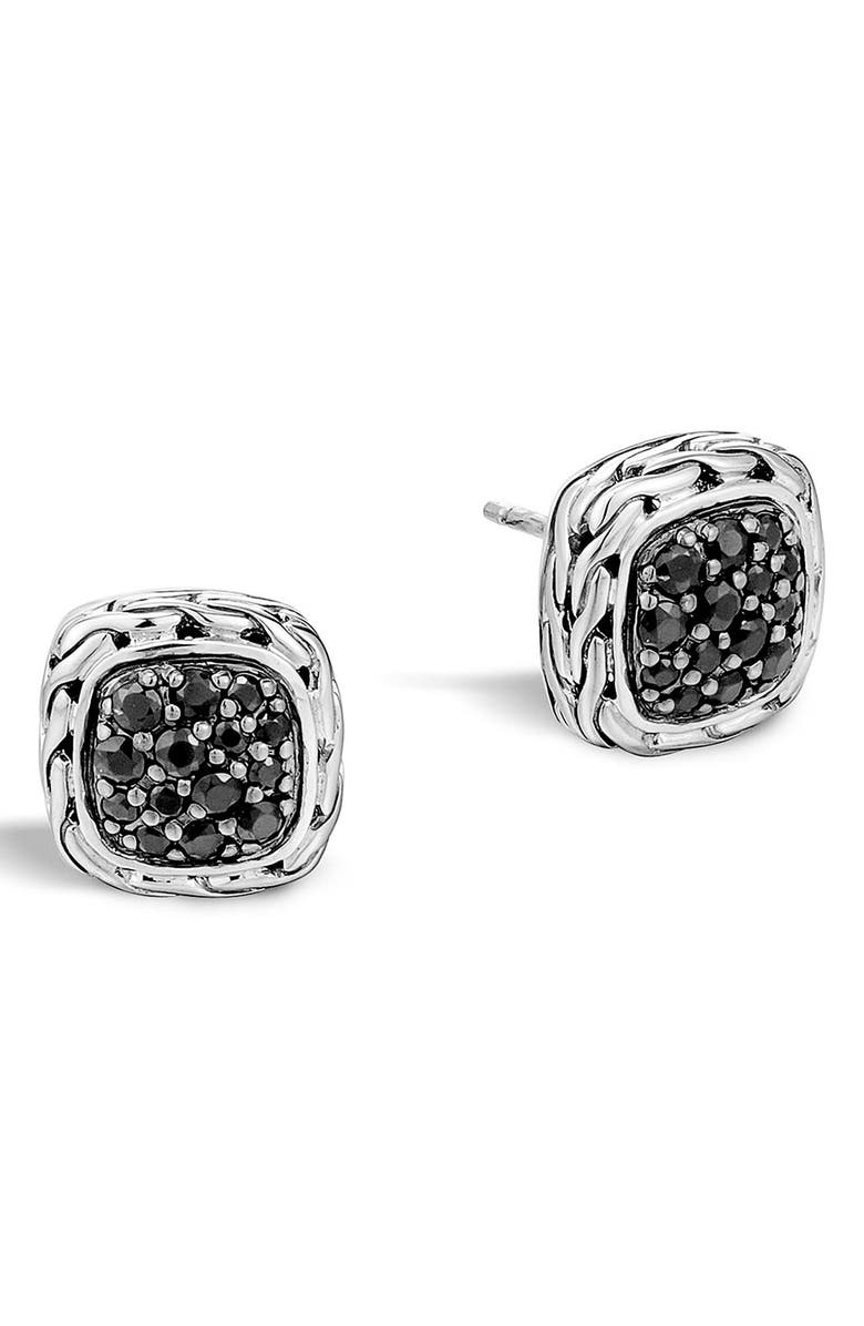 JOHN HARDY 'Classic Chain' Small Square Stud Earrings, Main, color, BLACK SAPPHIRE