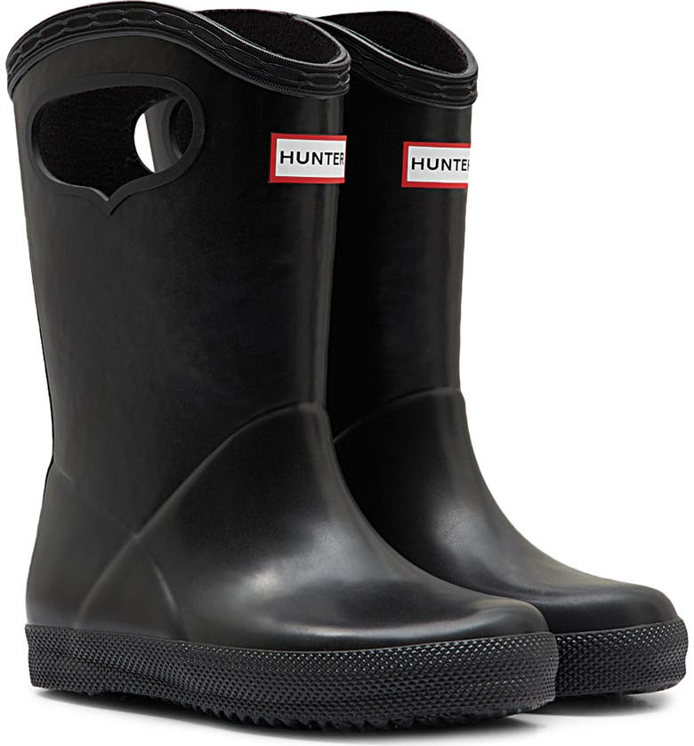HUNTER First Classic Pull-On Waterproof Rainboot, Main, color, BLACK