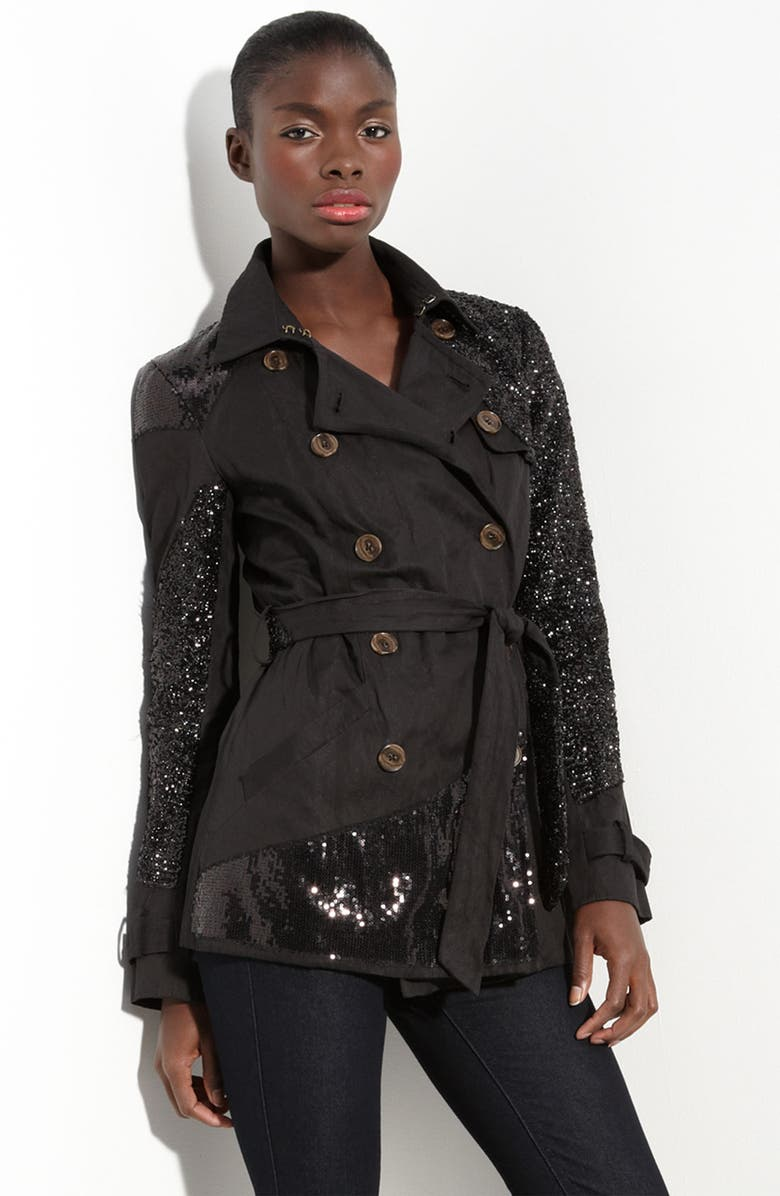 GRYPHON Sequin Patchwork Trench, Main, color, 401