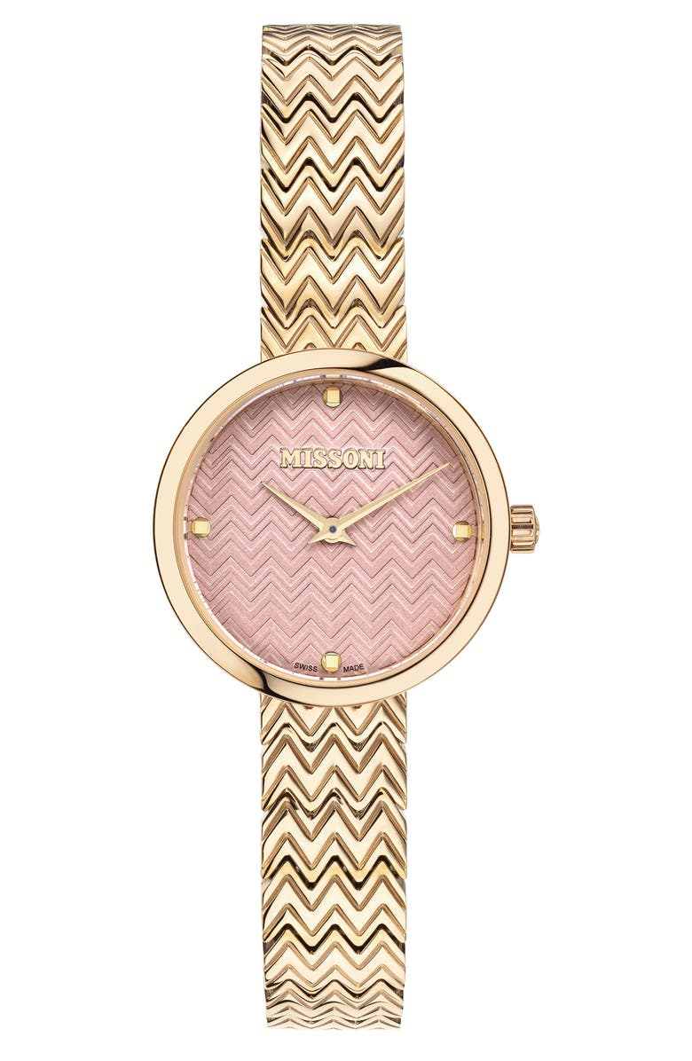 MISSONI M1 Joy Bracelet Watch, 29mm, Main, color, CHAMPAGNE / PINK