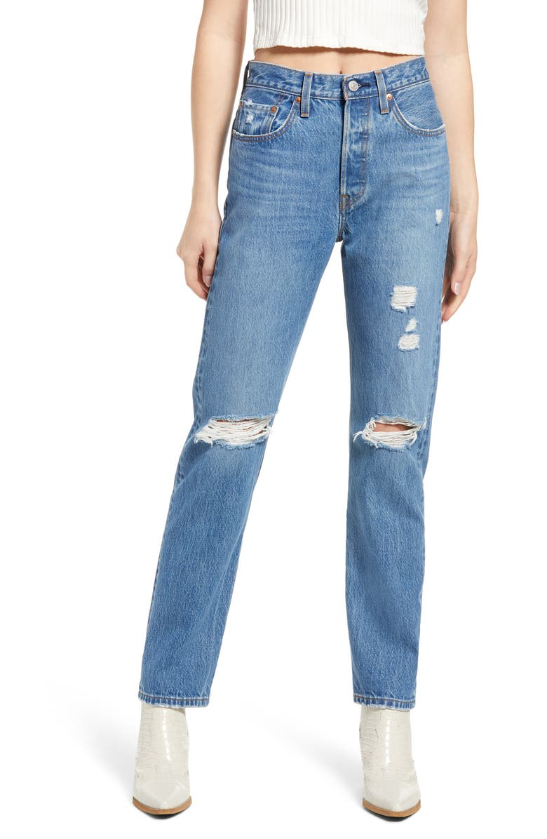 LEVI'S<SUP>®</SUP> 501<sup>®</sup> Ripped Straight Leg Jeans, Main, color, ATHENS CROWN WITH DESTRUCTION