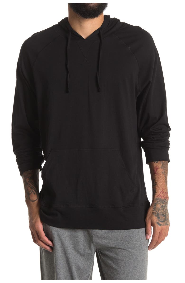 UNSIMPLY STITCHED Soft Pullover Hoodie, Main, color, BLACK