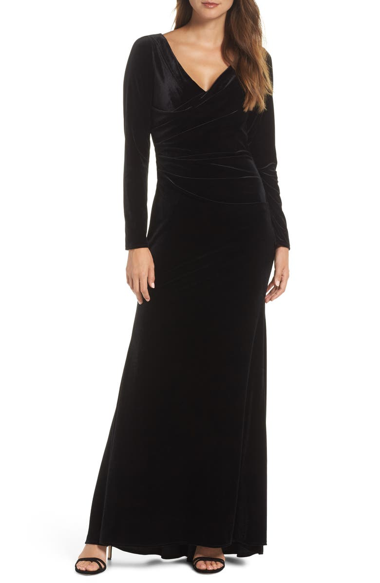 VINCE CAMUTO LONG SLV V-NECK GOWN WITH SIDE, Main, color, 001