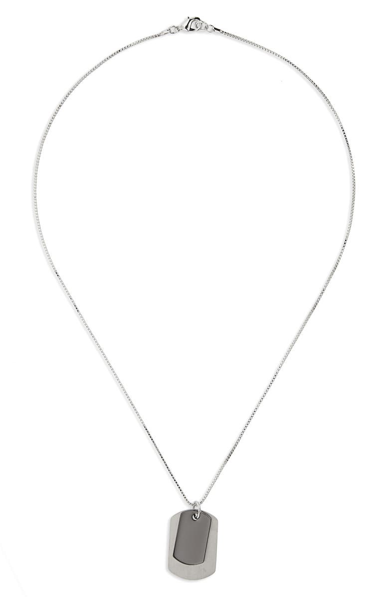 NORDSTROM Dog Tag Pendant Necklace, Main, color, SILVER