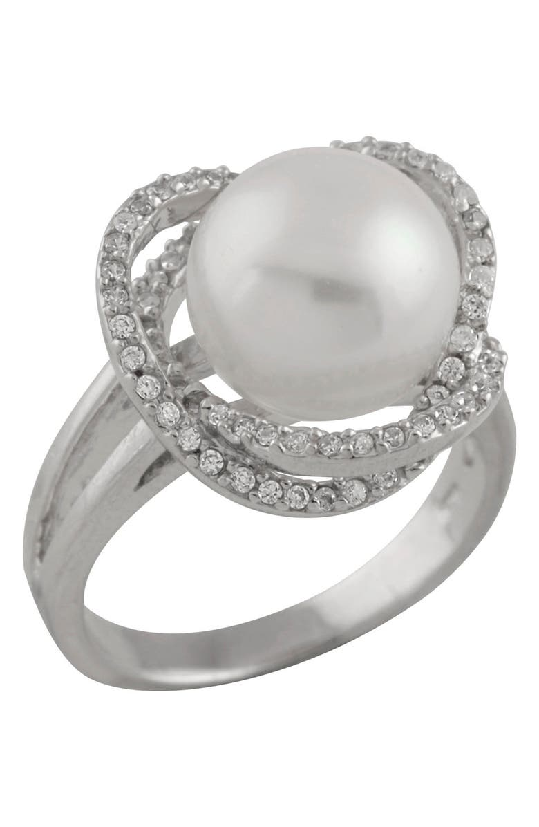 SPLENDID PEARLS Fancy 10-11mm White Freshwater Pearl CZ Halo Ring, Main, color, NATURAL WHITE