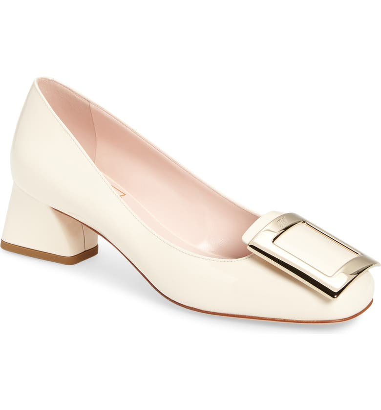 ROGER VIVIER Tres Vivier Block Heel Pump, Main, color, WHITE