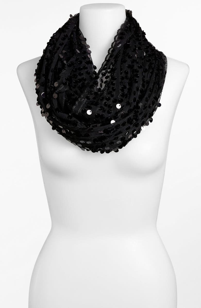 COLLECTION XIIX 'All Over Sequin' Infinity Scarf, Main, color, BLACK