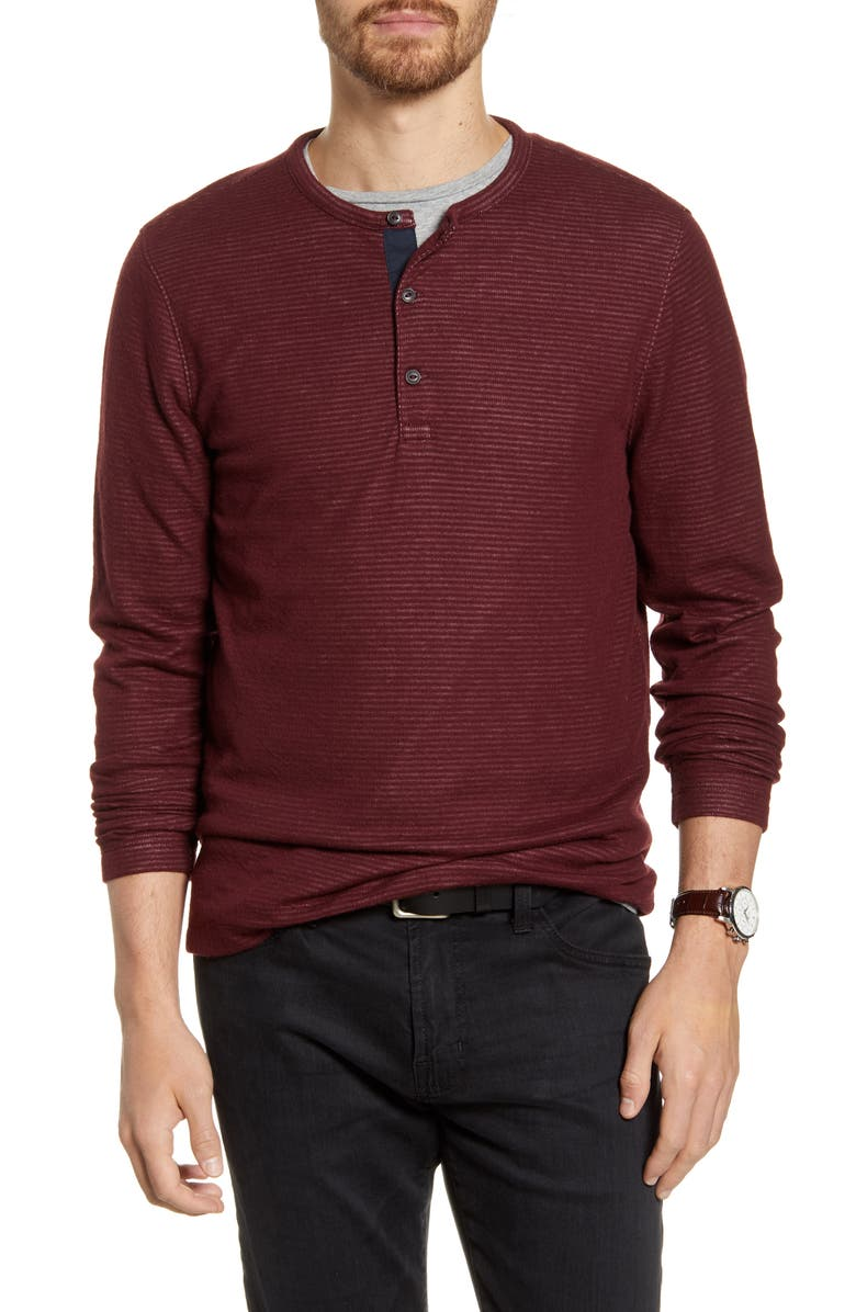 1901 Stripe Long Sleeve Henley, Main, color, BURGUNDY ROYALE WHITE TEXTURE