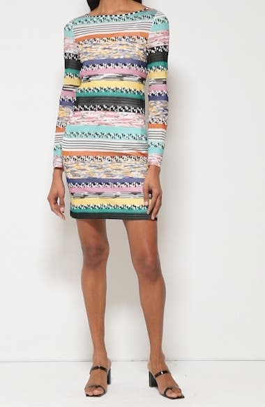 Stripe Jacquard Long Sleeve Sweater Dress, video thumbnail