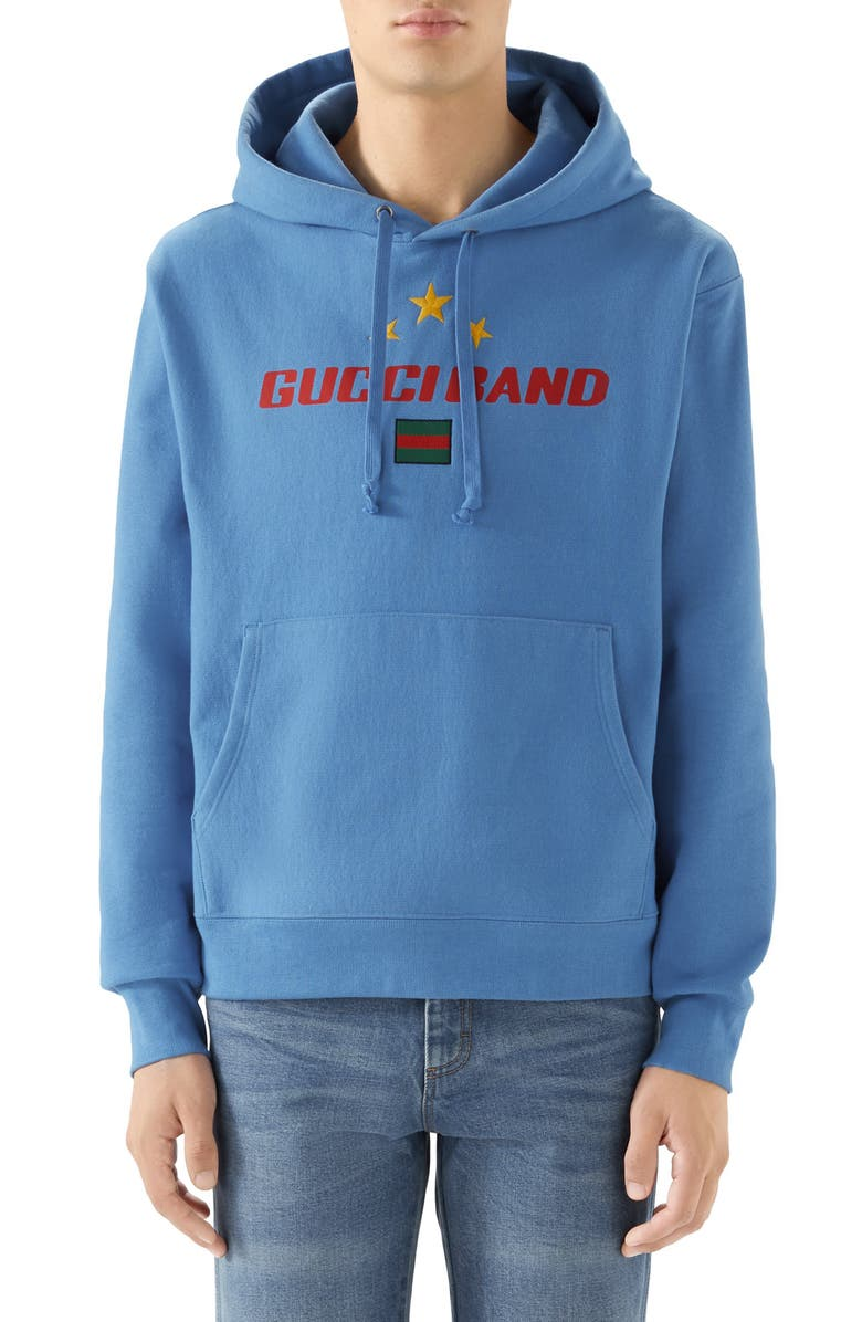 GUCCI Band Print Hooded Sweatshirt, Main, color, 424