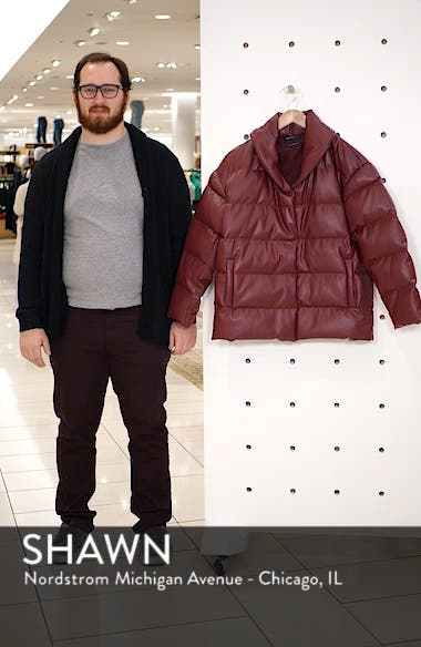 Faux Leather Puffer Coat, sales video thumbnail