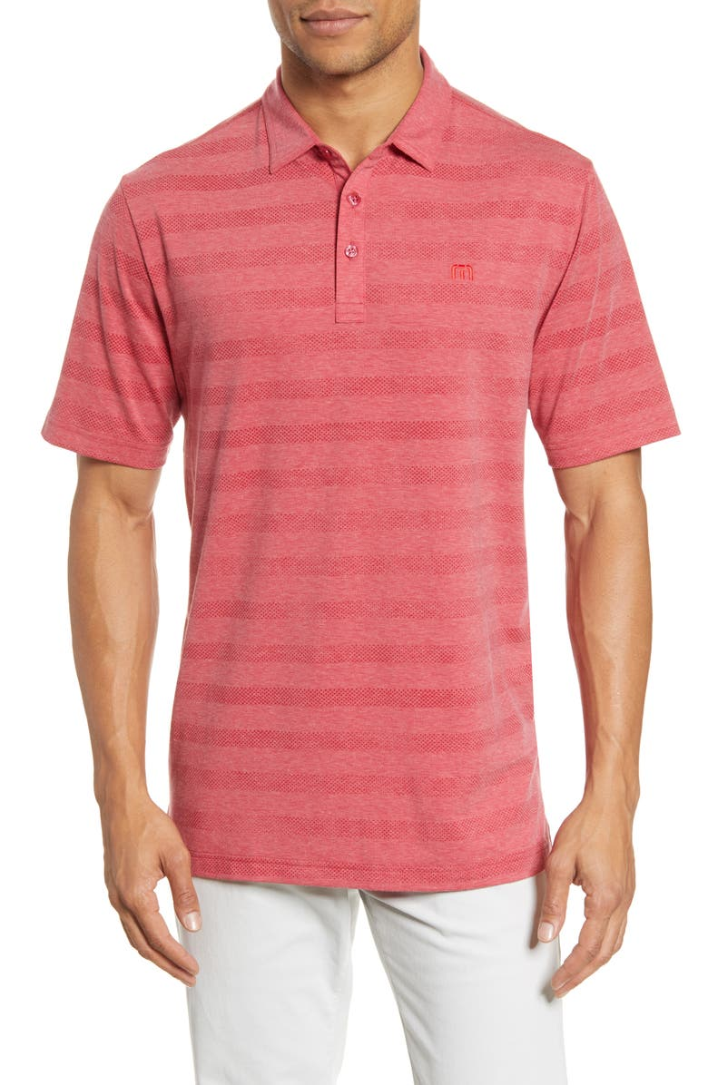 TRAVISMATHEW Heater Stripe Short Sleeve Performance Polo, Main, color, HEATHER SCOOTER