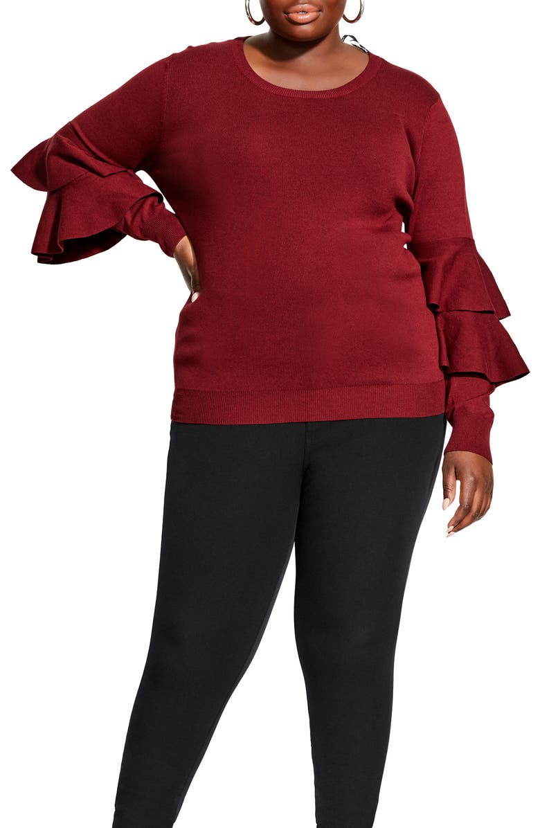 CITY CHIC Flaunt Sleeve Sweater, Main, color, 621