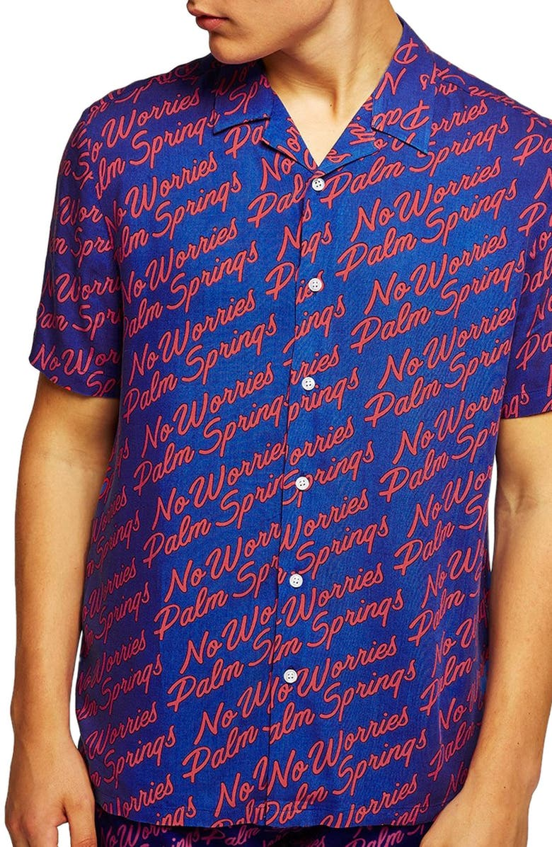 TOPMAN Palm Springs Woven Shirt, Main, color, 401