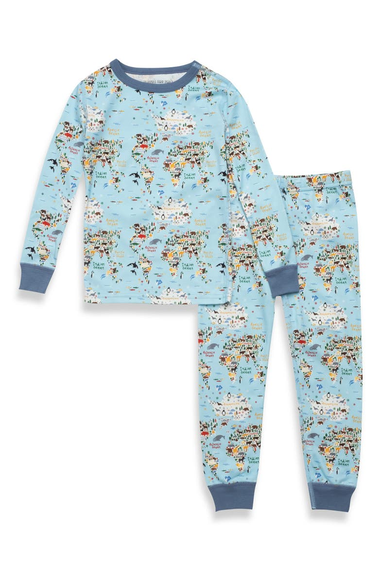 PAJAMAS FOR PEACE Kids' Worldly Animals Fitted Two-Piece Pajamas, Main, color, Blue