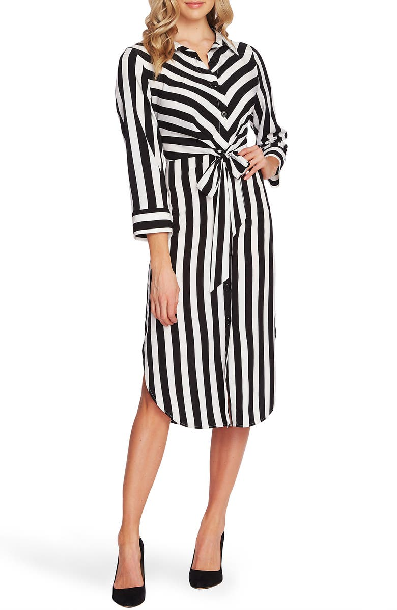 VINCE CAMUTO Bold Stripe Tie Front Bracelet Sleeve Shirtdress, Main, color, 006