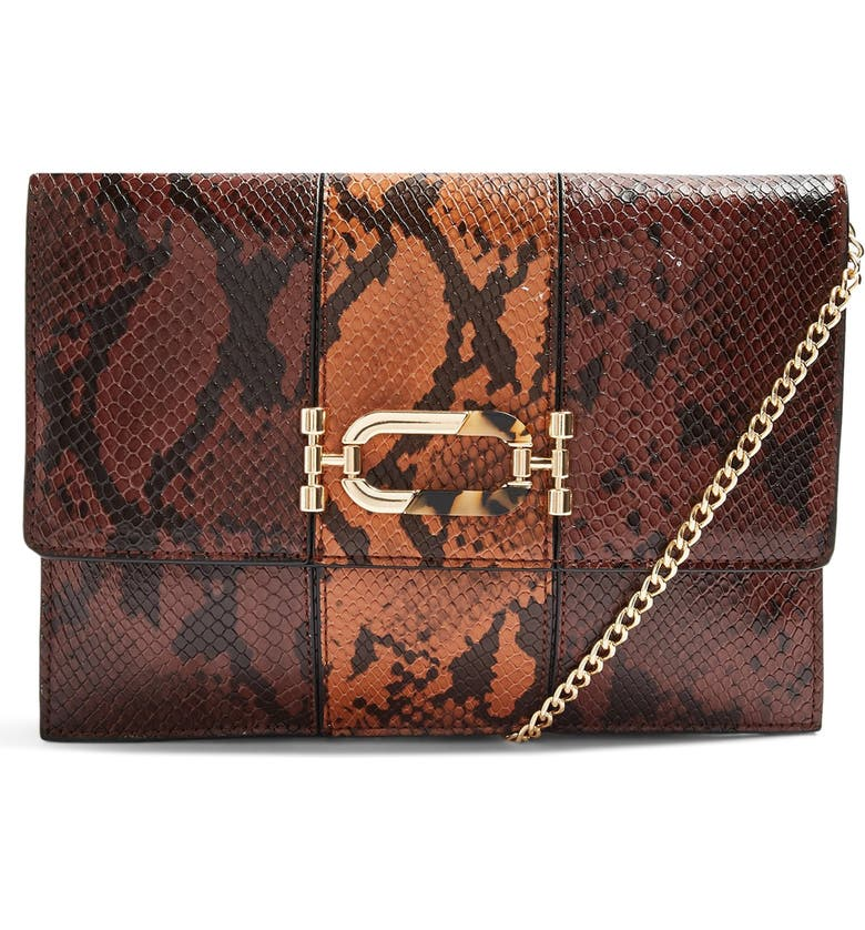 TOPSHOP Snake Embossed Convertible Faux Leather Clutch, Main, color, 200
