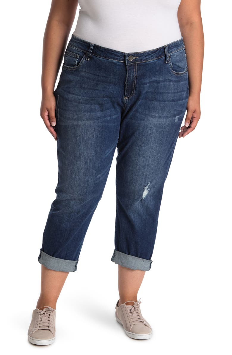KUT FROM THE KLOTH Boyfriend Cropped Jeans, Main, color, STUPENDOUS W/ DK