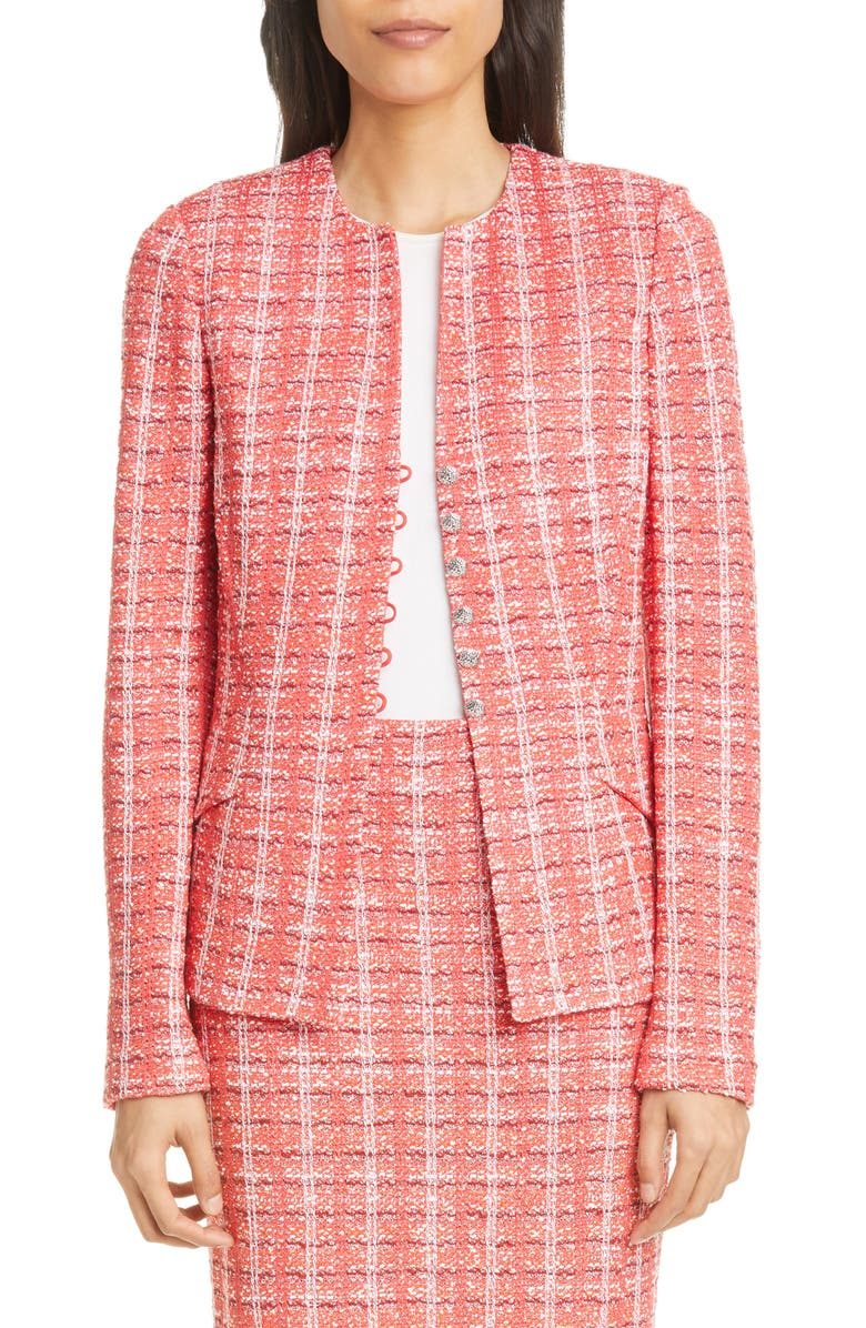 ST. JOHN COLLECTION Bold Vertical Tweed Knit Jacket, Main, color, APPLE MULTI