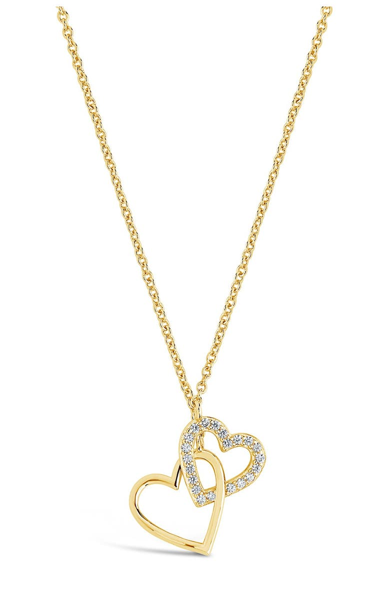 STERLING FOREVER 14K Yellow Gold Plated Pave CZ Interlocking Hearts Pendant Necklace, Main, color, GOLD