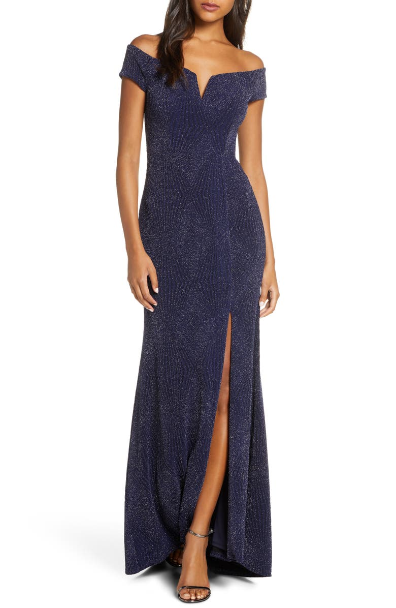 VINCE CAMUTO Off the Shoulder Metallic Gown, Main, color, 410