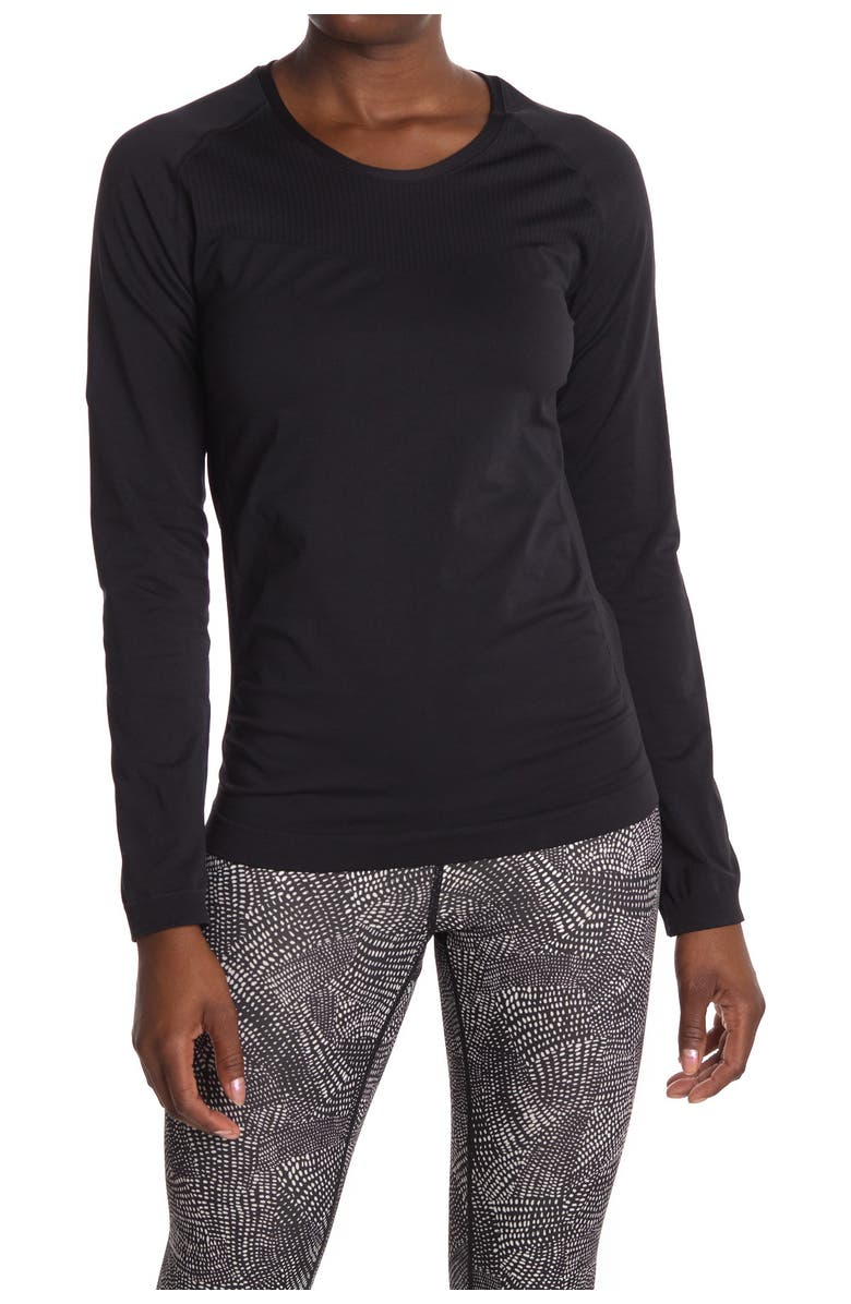 Z BY ZELLA Meridian Seamless Long Sleeve T-Shirt, Main, color, BLACK