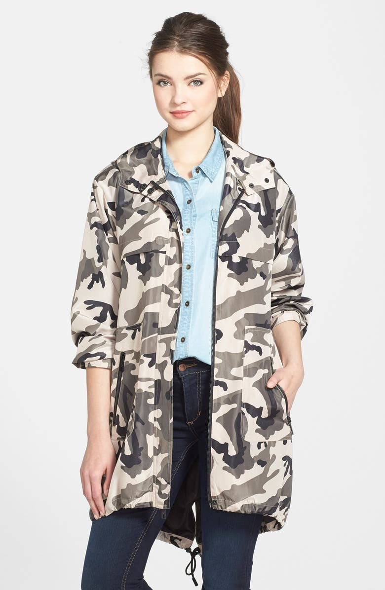 KENNETH COLE NEW YORK Hooded Camo Print Anorak, Main, color, CAMOUFLAGE
